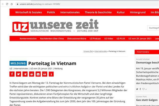 13th National Party Congress decides Vietnam's most important tasks: German newspaper hinh anh 1