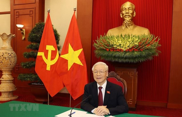 Party chief holds phone talks with Russian President hinh anh 1