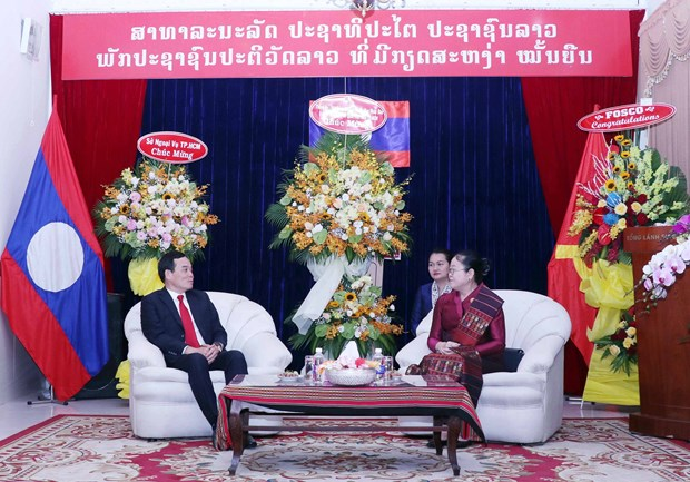 HCM City leaders pay New Year visit to Lao Consulate General hinh anh 1