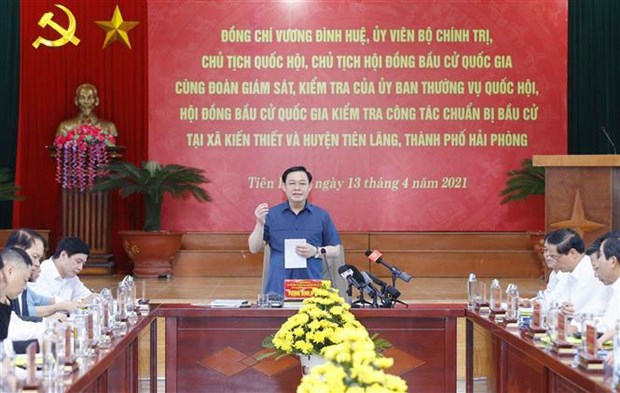 Top legislator inspects election preparations in Hai Phong hinh anh 1