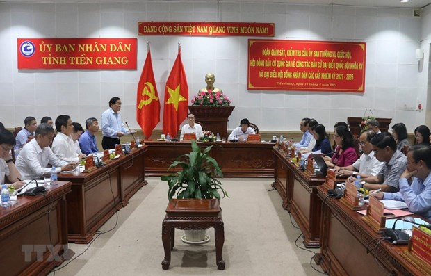 NA Vice Chairman inspects election preparations in Tien Giang hinh anh 1