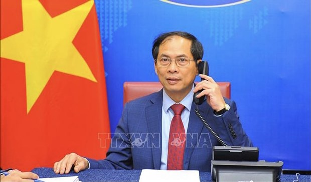 Vietnamese, Singaporean Foreign Ministers hold phone talks hinh anh 1
