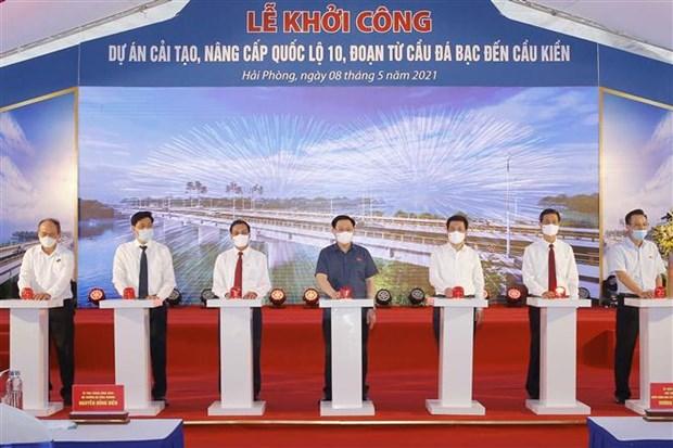Top legislator attends ground-breaking of national highway upgrade in Hai Phong hinh anh 1