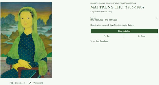Portrait by late Vietnamese painter to be auctioned in Hong Kong hinh anh 1