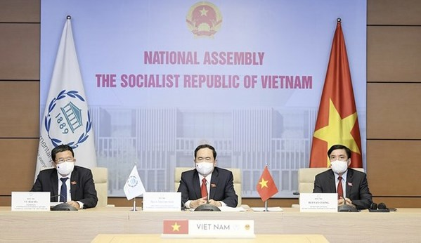 Vietnam calls for stronger partnership in dealing with COVID-19 at 142nd IPU Assembly hinh anh 1