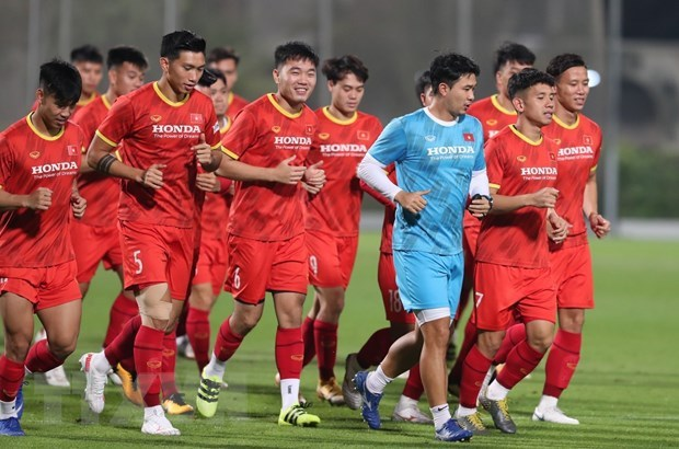 Vietnamese players tested for COVID-19 before friendly match with Jordan hinh anh 1
