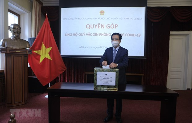 OVs in Russia make donations for vaccine fund at home hinh anh 1