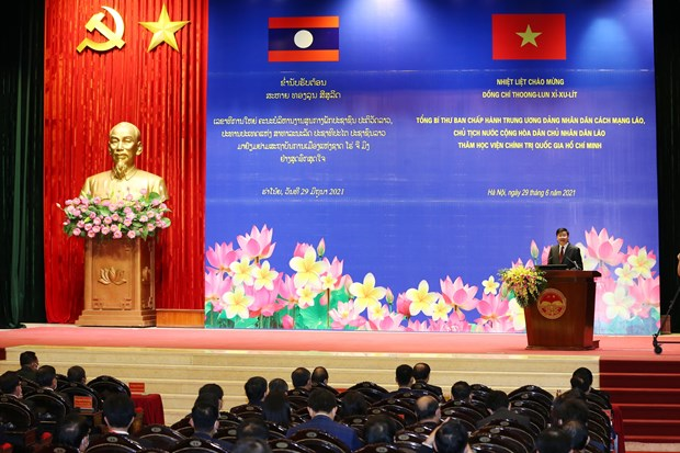 Top Lao leader visits Ho Chi Minh National Academy of Politics hinh anh 1
