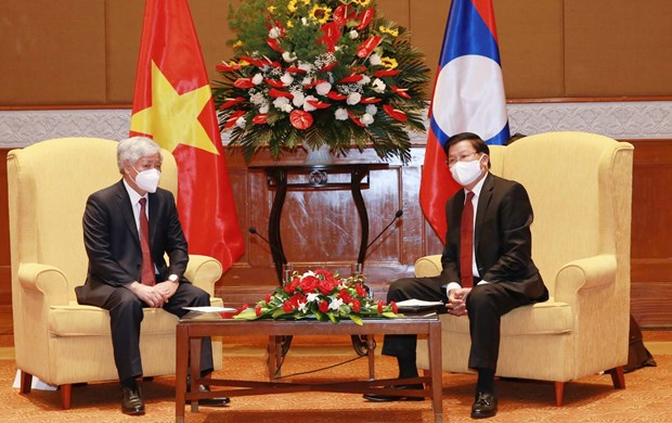 Lao leader receives President of Vietnam Fatherland Front hinh anh 1