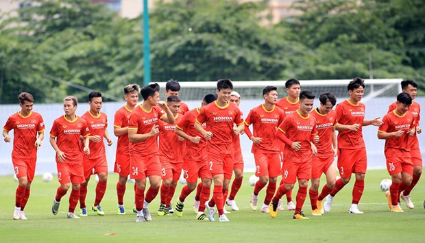 Training sessions of national men's football team held under bubble travel model hinh anh 1