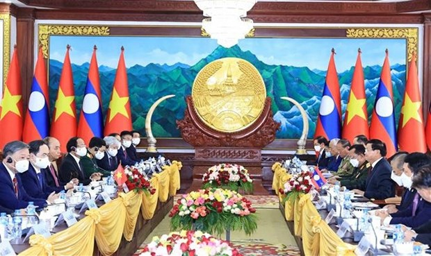 Top priority given to enhancing special Vietnam-Laos ties: Leaders hinh anh 1