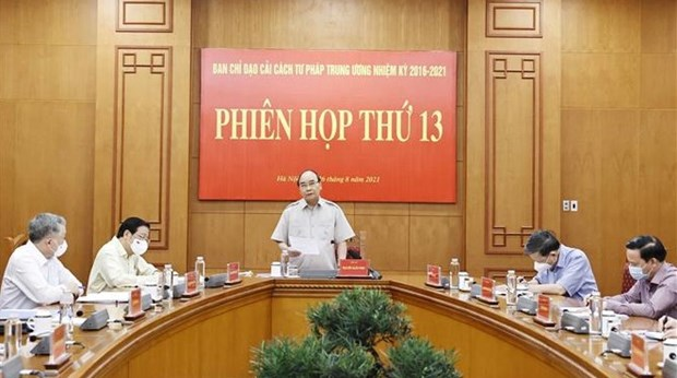 President chairs 13th meeting of Central Steering Committee for Judicial Reform hinh anh 1