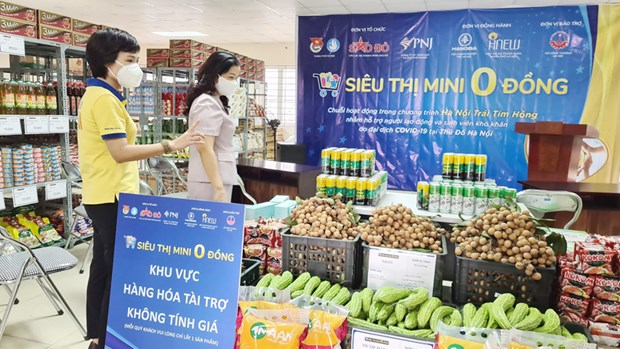 """""""Zero dong"""" stores support pandemic-hit people in Hanoi hinh anh 1"""