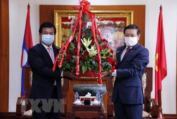 Lao officials congratulate Vietnam's achievements hinh anh 1