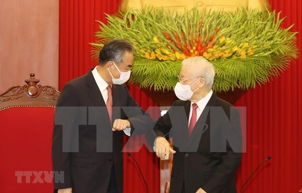 Party chief hosts reception for Chinese Foreign Minister hinh anh 1