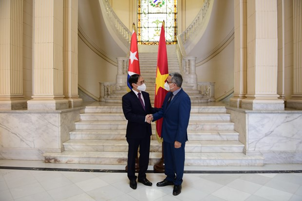 Vietnamese FM meets with Acting FM of Cuba hinh anh 1