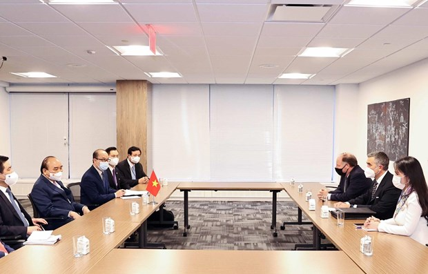 President Nguyen Xuan Phuc receives leaders of US enterprises in New York hinh anh 1