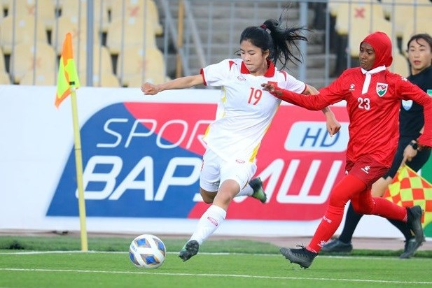 Vietnam thrash Maldives 16-0 at AFC Women's Asian Cup qualifiers hinh anh 1