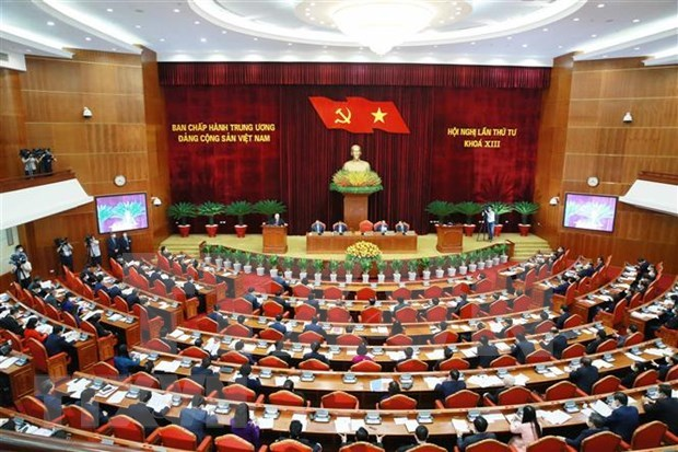 Party Central Committee finishes first working day of fourth session hinh anh 1