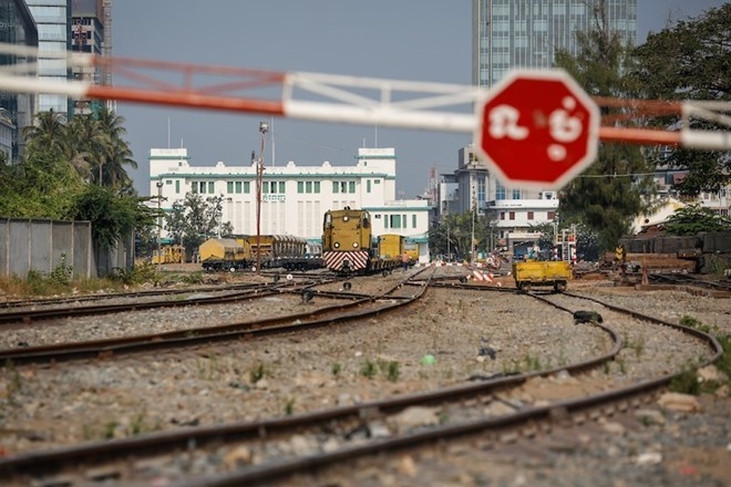 Cambodian railroad connected with Thailand at border gate ...