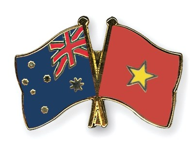 Vietnam And Australia Is Celebrating 45th Anniversary Of Diplomatic Ties This Year Photo Crossed Flag Pins