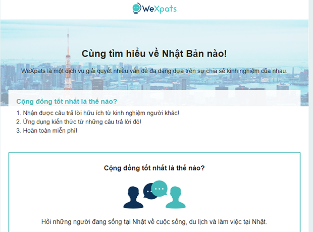 Website supporting Vietnamese expats in Japan makes debut