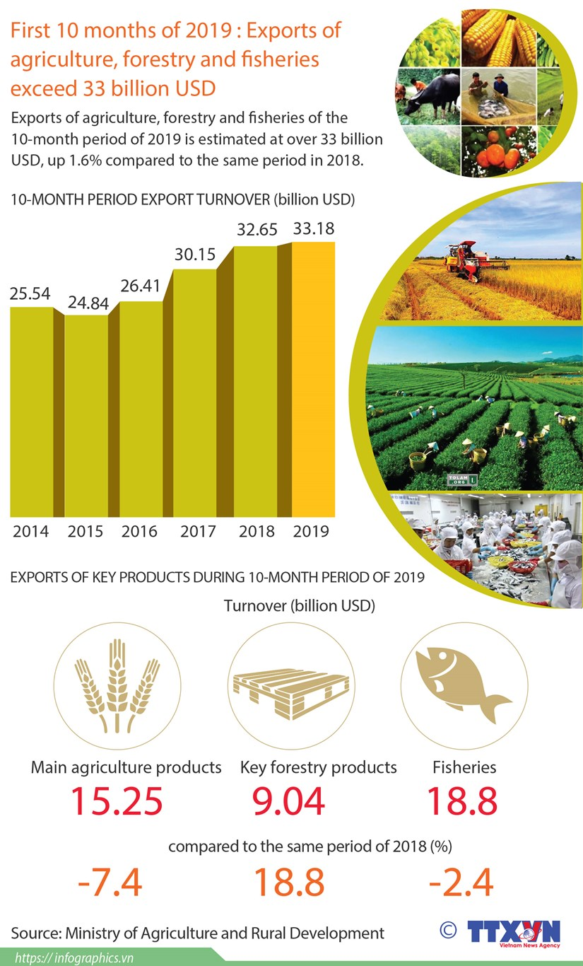 Exports of agriculture, forestry and fisheries exceed 33 billion USD hinh anh 1