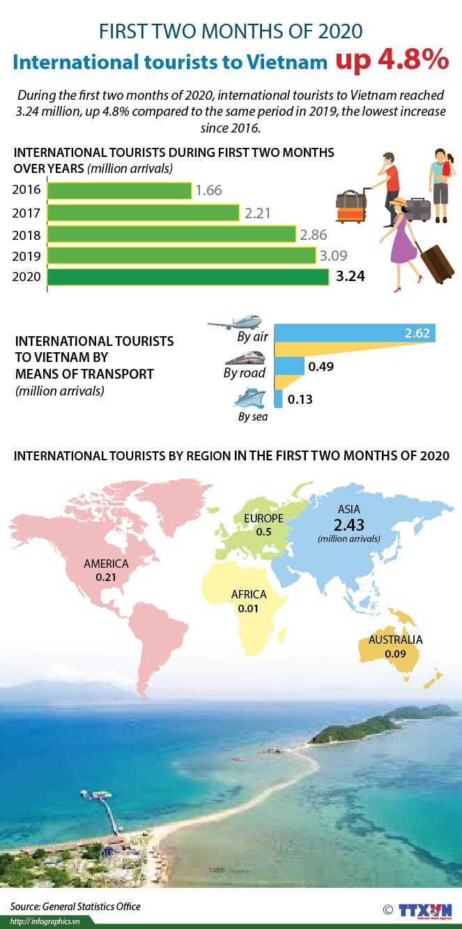International tourists to Vietnam up 4.8% in first two months of 2020 hinh anh 1