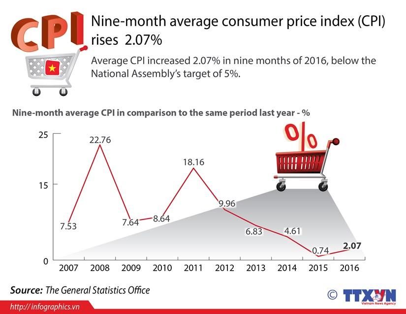 Nine-month average consumer price index (CPI) rises 2.07% hinh anh 1