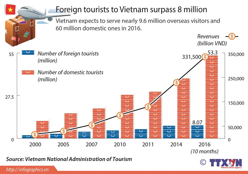 Foreign tourists to Vietnam surpass 8 million hinh anh 1