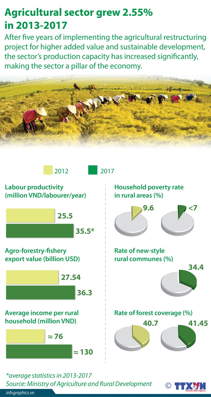 Agricultural sector grew 2.55% in 2013-2017 hinh anh 1