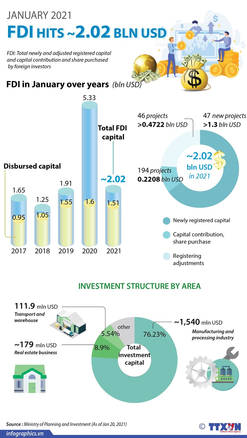 FDI hits 2.02 bln USD in January hinh anh 1