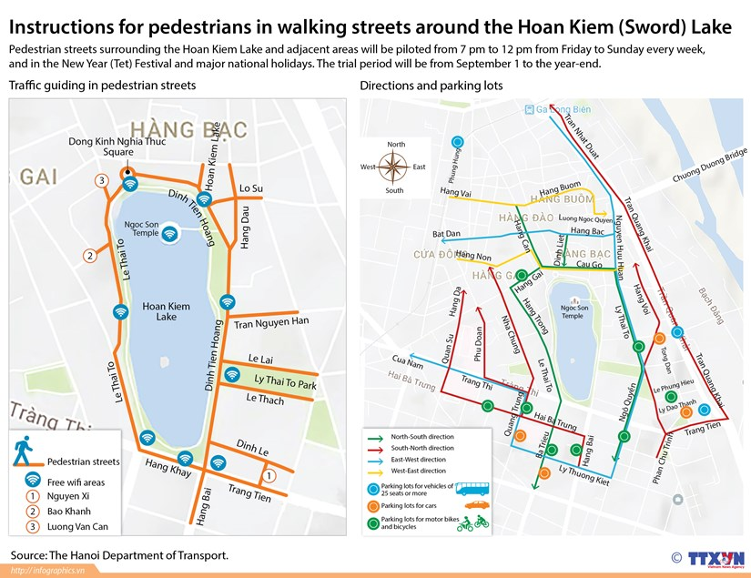 Instructions for pedestrians in walking streets in Hoan Kiem Lake hinh anh 1