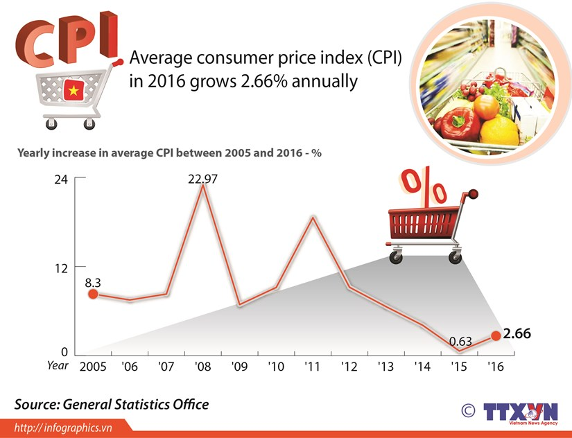 Average CPI grows 2.66% in 2016 hinh anh 1