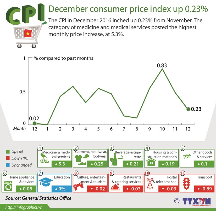 December's CPI up 0.23% hinh anh 1