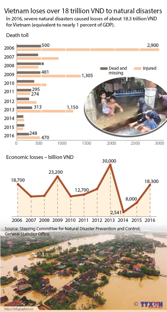 Vietnam loses over 18 trillion VND to natural disasters hinh anh 1