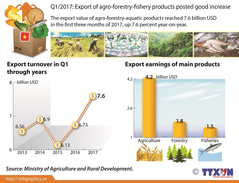 Q1/2017: Export of agro-forestry-fishery products posted good increase hinh anh 1