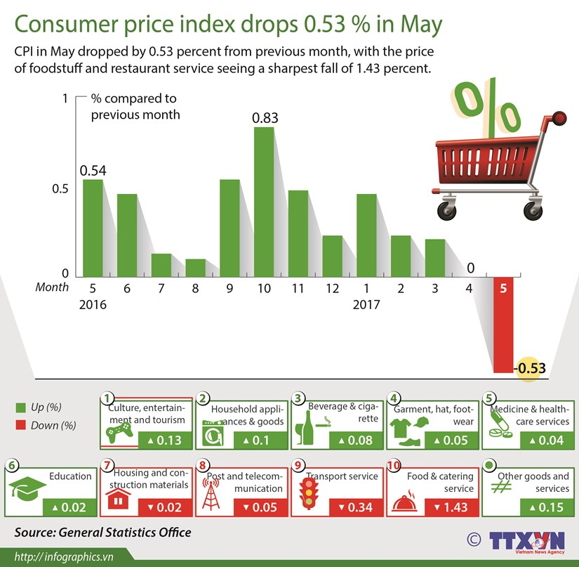 Consumer price index drops 0.53 percent in May hinh anh 1
