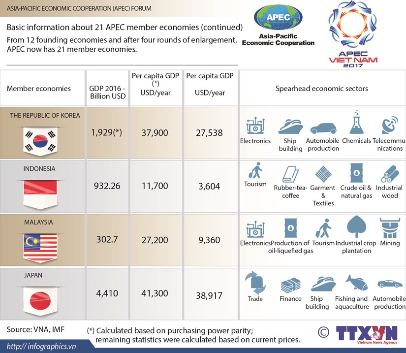 APEC 2017:Basic information about 21 APEC member economies (continued) hinh anh 1