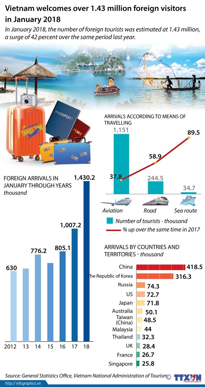 Vietnam welcomes over 1.43 million foreign visitors in January hinh anh 1