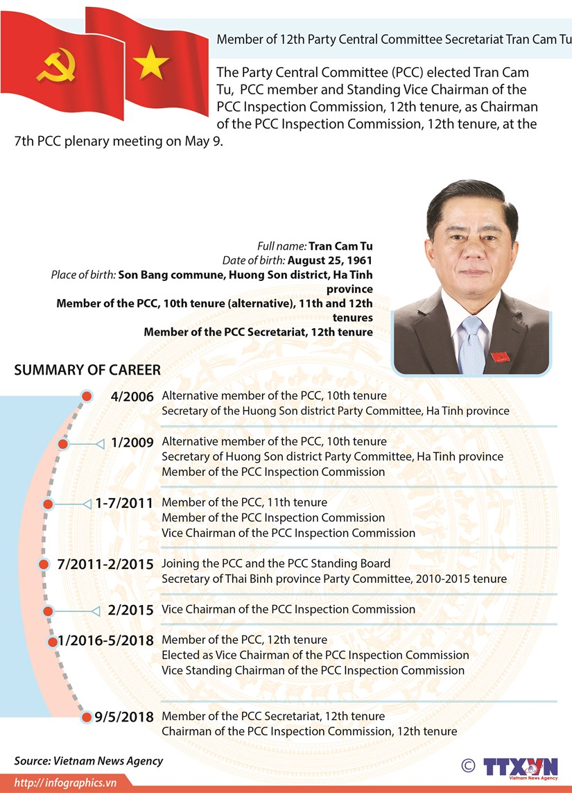 Member of 12th Party Central Committee Secretariat Tran Cam Tu hinh anh 1
