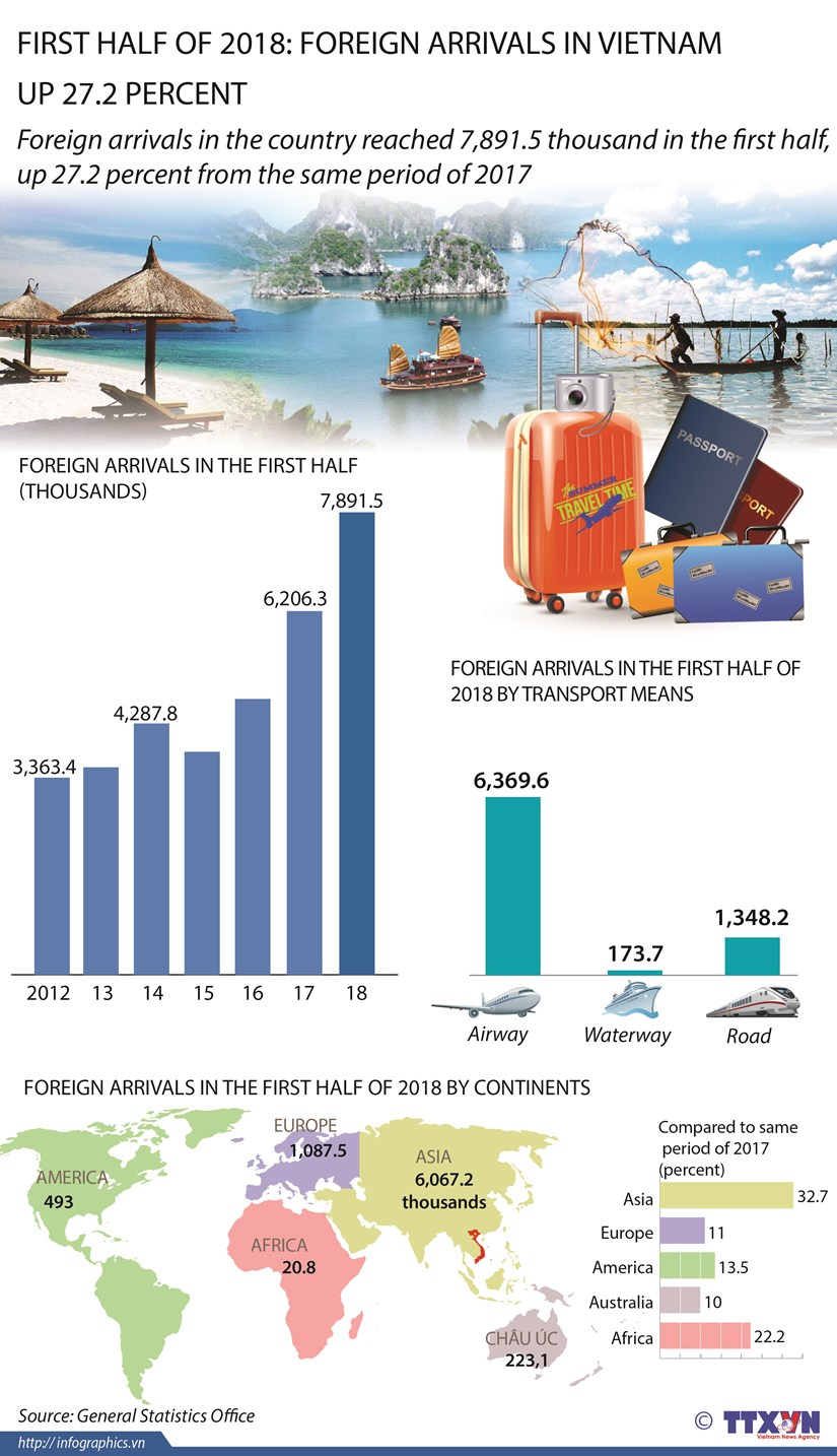 First half of 2018: Foreign arrivals in Vietnam up 27.2 percent hinh anh 1