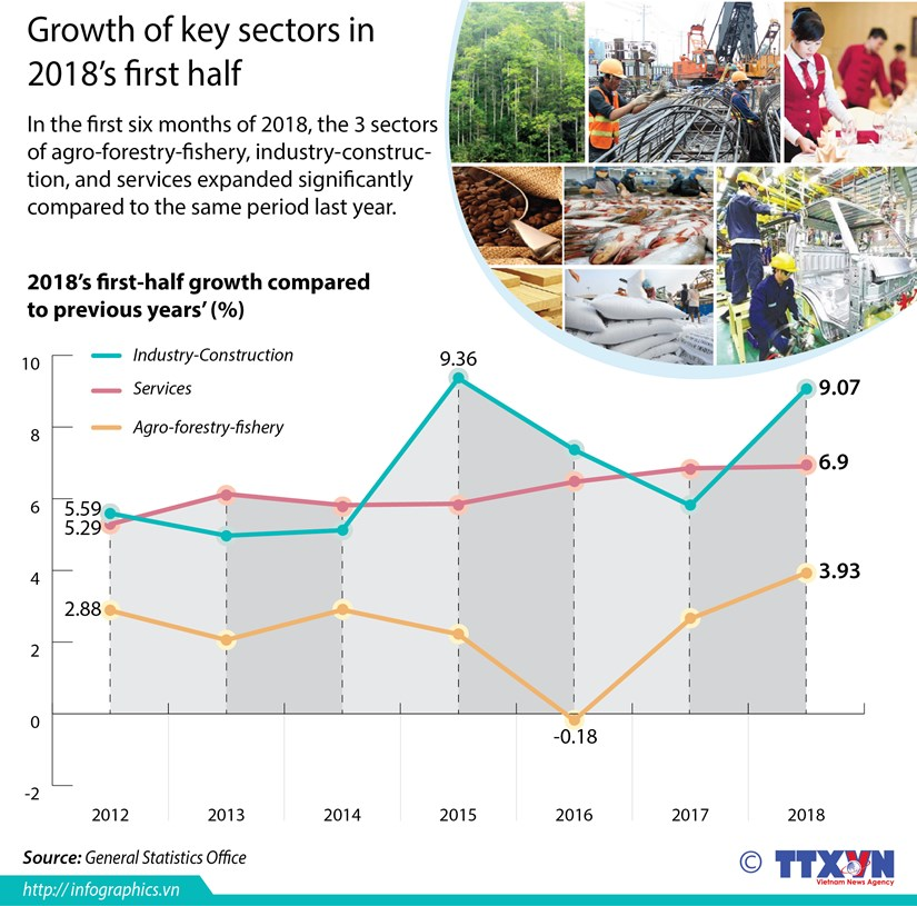 Growth of key sectors in 2018's first half hinh anh 1