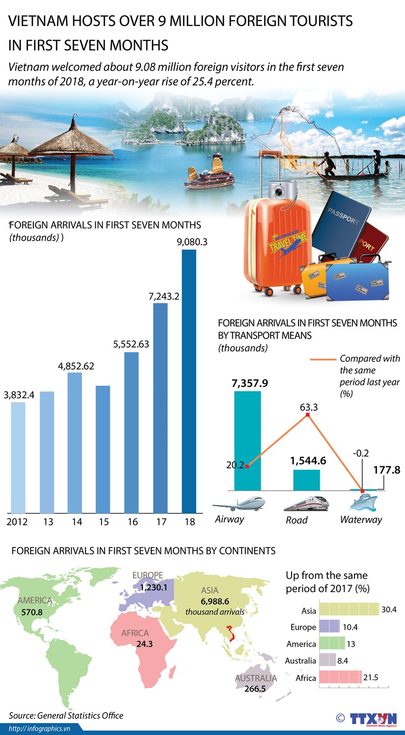 Vietnam hosts over 9 million foreign tourists in first seven months hinh anh 1