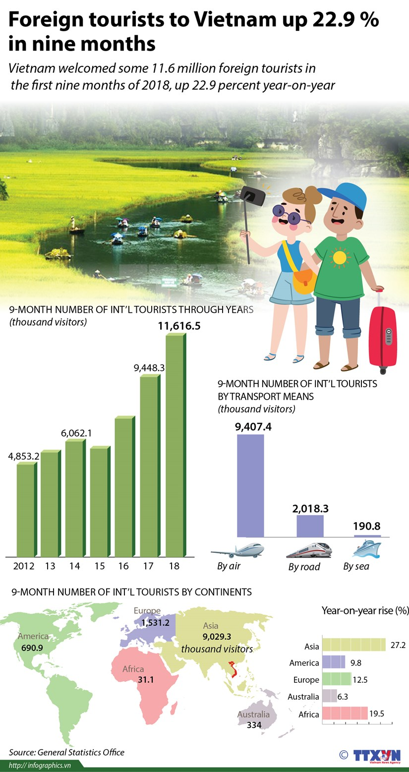 Foreign tourists to Vietnam up 22.9 percent in nine months hinh anh 1