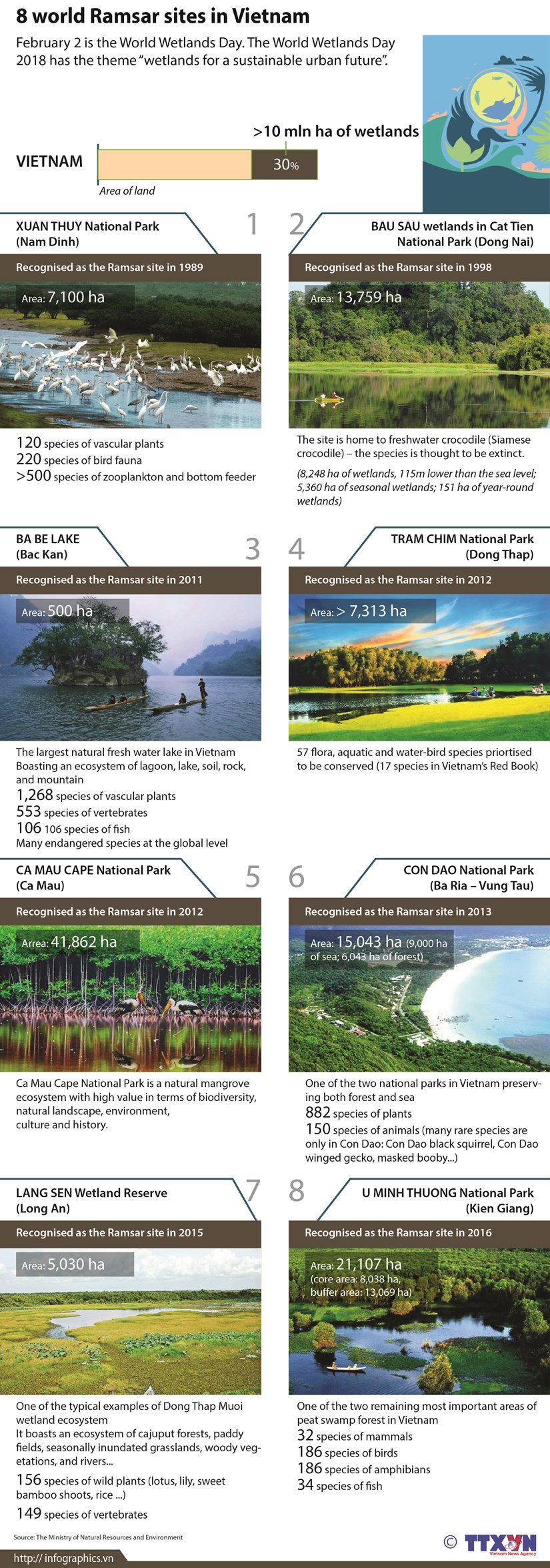 Eight world Ramsar sites in Vietnam hinh anh 1