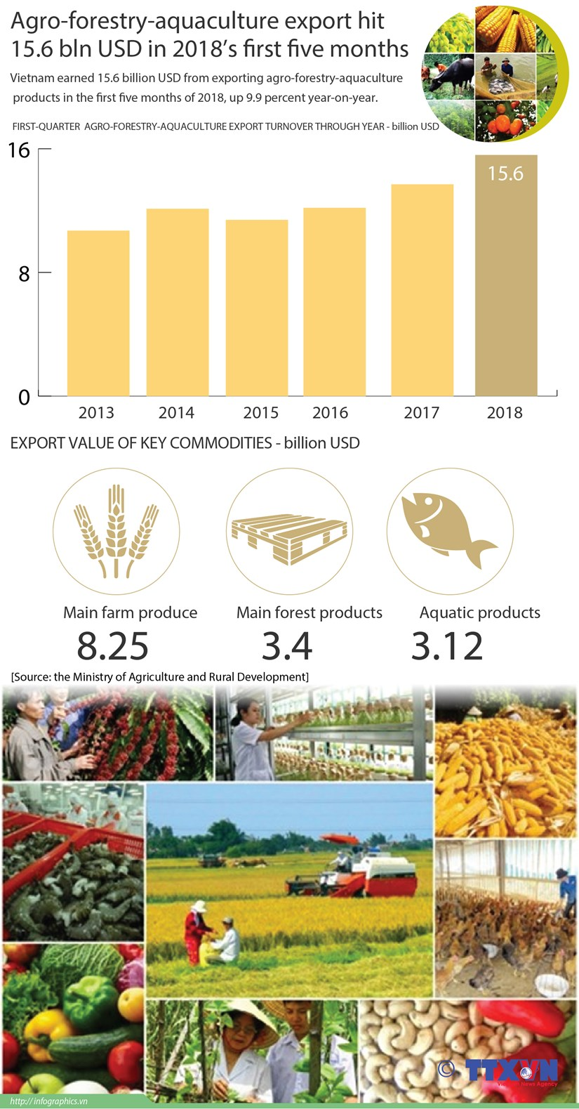 Agro-forestry-aquaculture export hit 15.6 bln in five months hinh anh 1