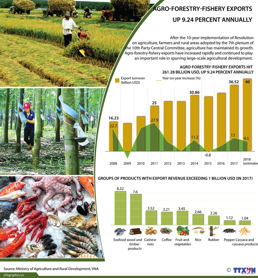 Agro-forestry-fishery exports up 9.24 percent annually hinh anh 1