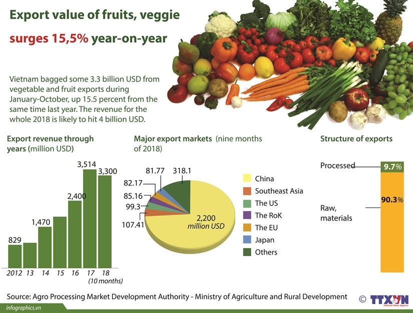 Export value of fruits, veggie surges 15.5 percent year-on-year hinh anh 1