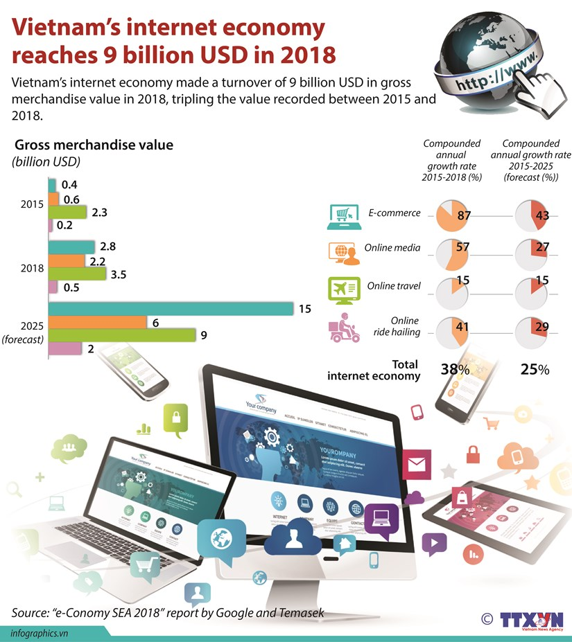 Vietnam's internet economy reaches 9 billion USD in 2018 hinh anh 1